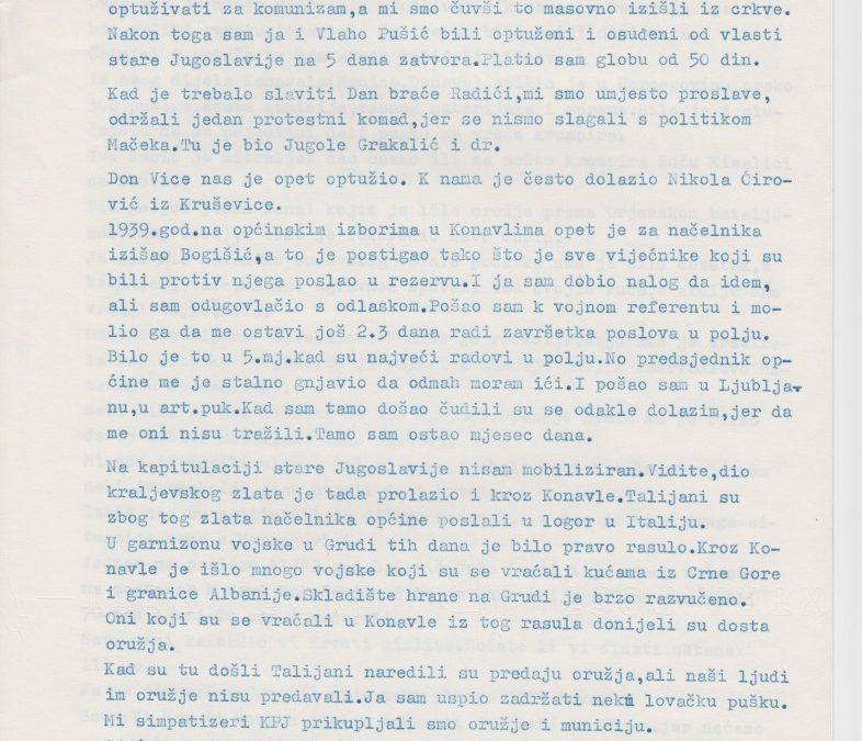 Sjećanje Marijana Fragića na dane NOB-e u Konavlima • MDRD M 357